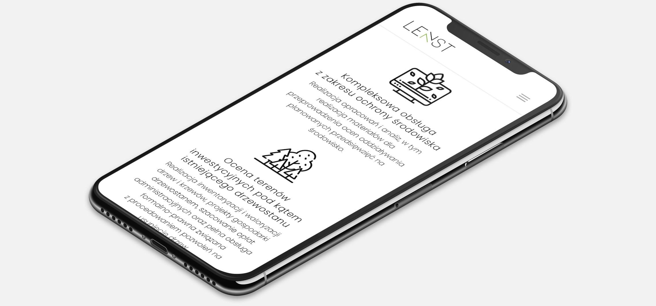Strona internetowa Lenst wwersji naurządzenia mobilne (smartfon)
