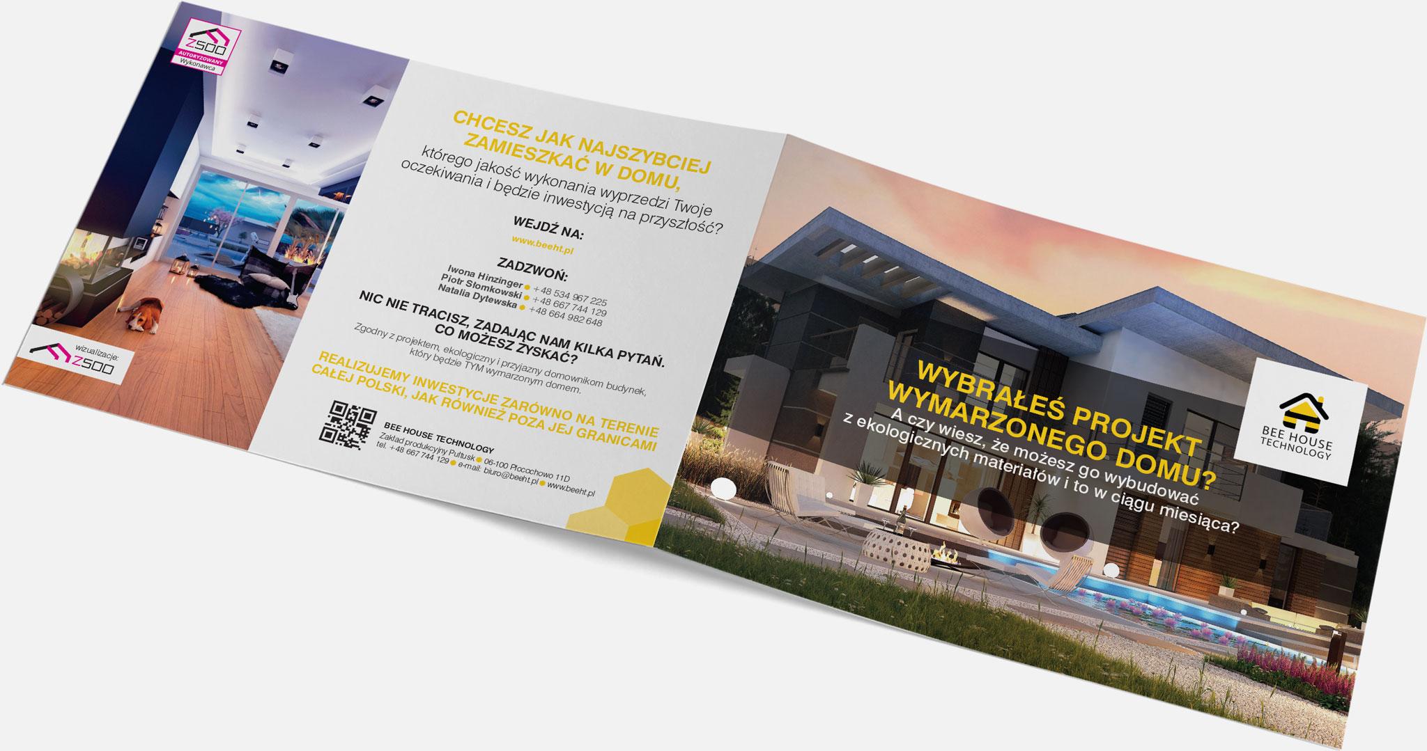 Projekt graficzny iprodukcja folderu reklamowego dla firmy budowlanej Bee House Technology