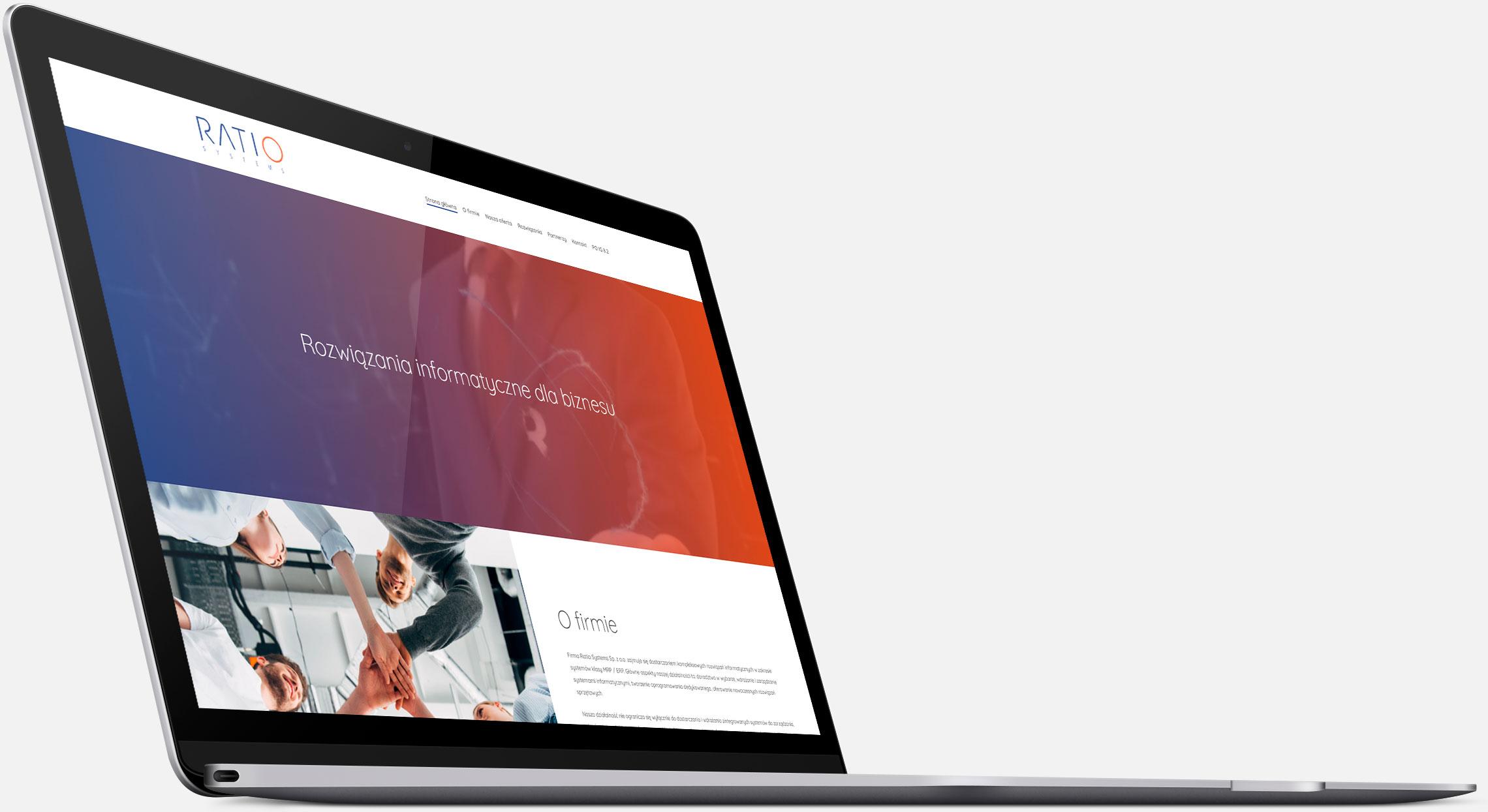 Strona internetowa Ratio Systems wwersji naurządzenia desktopowe
