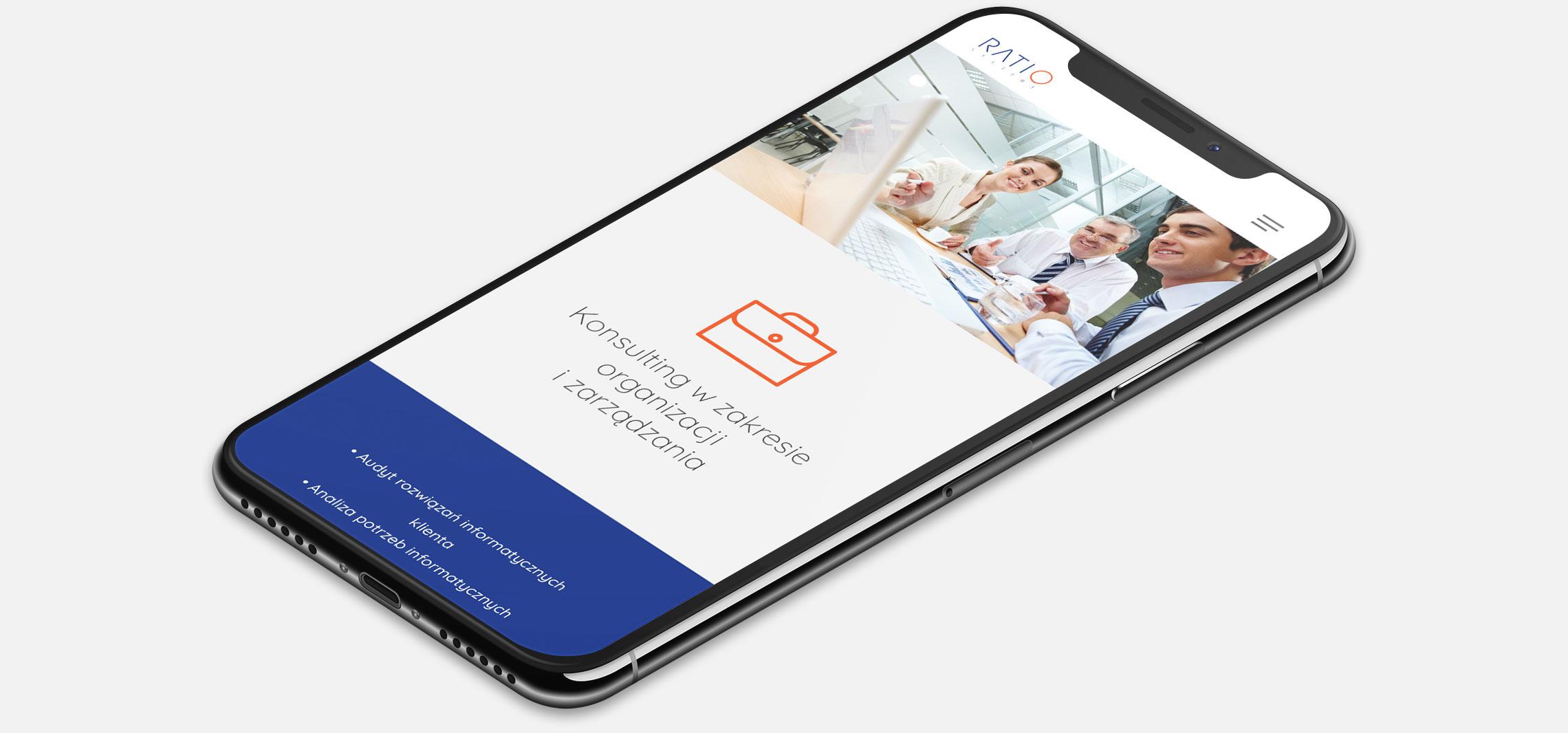 Strona internetowa Ratio Systems wwersji naurządzenia mobilne (smartfon)