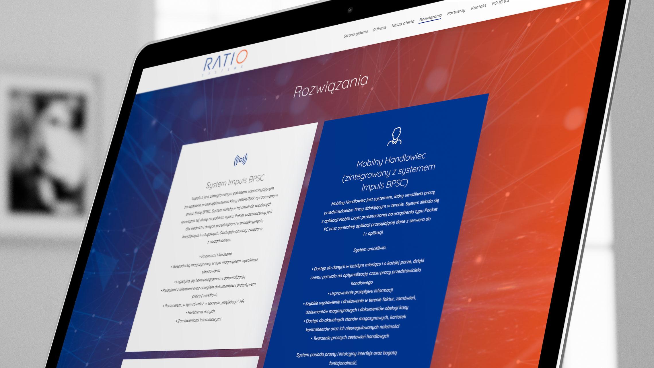 Sekcja rozwiązania nastronie internetowej Ratio Systems
