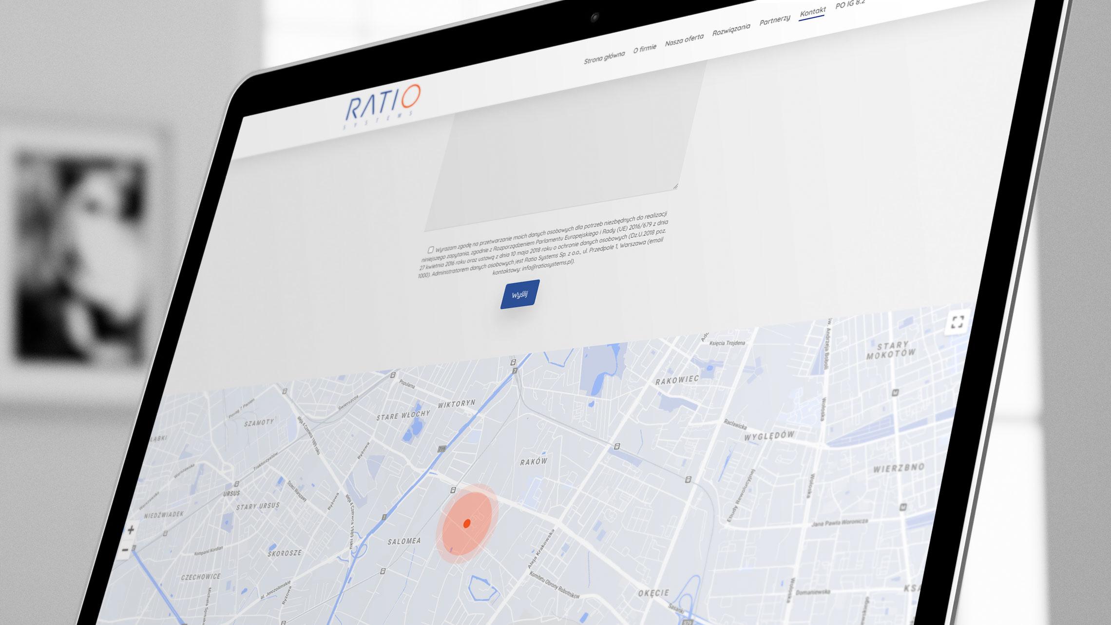 Sekcja kontakt nastronie internetowej Ratio Systems
