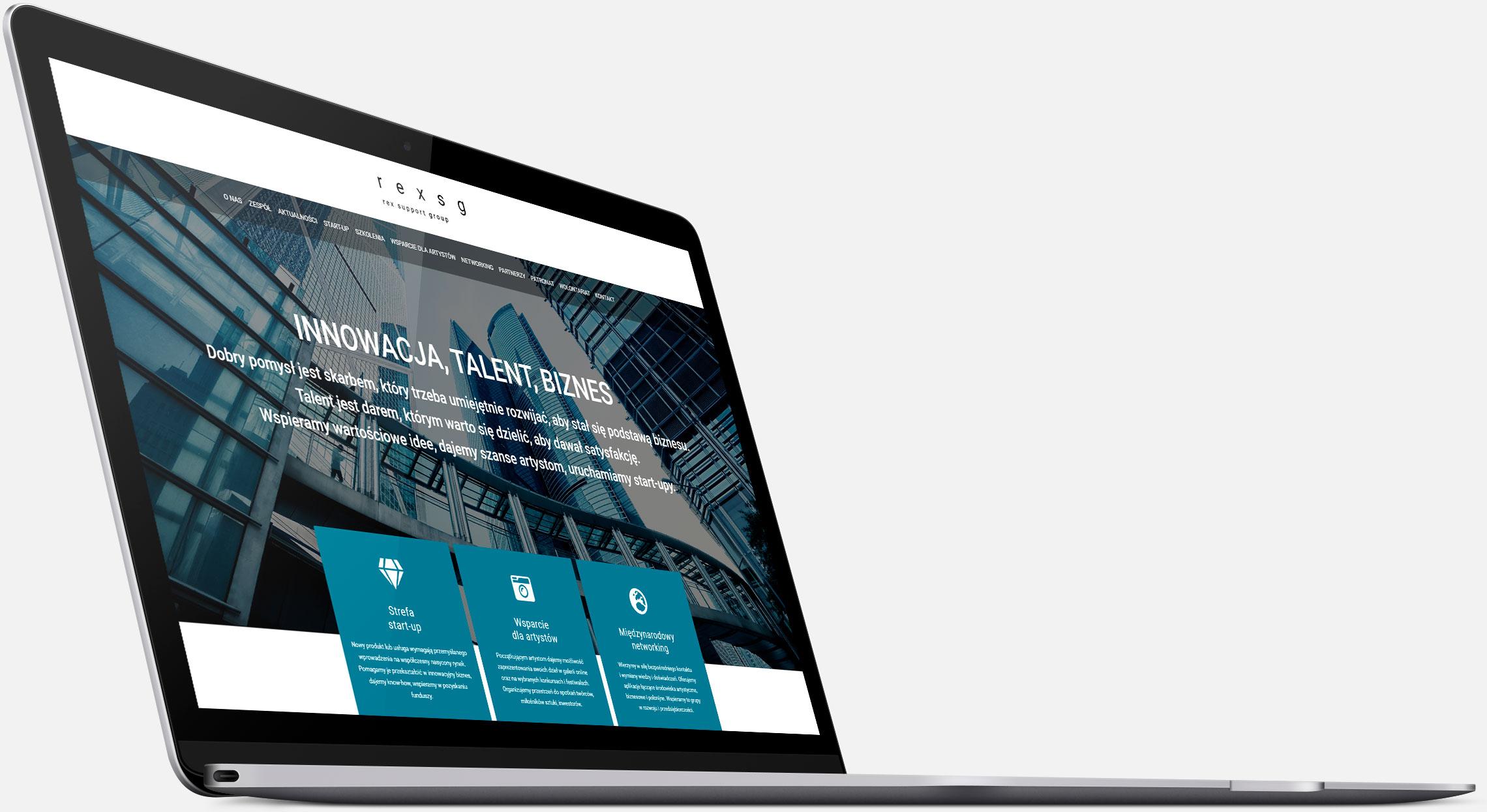Strona internetowa Rex SG wwersji naurządzenia desktopowe
