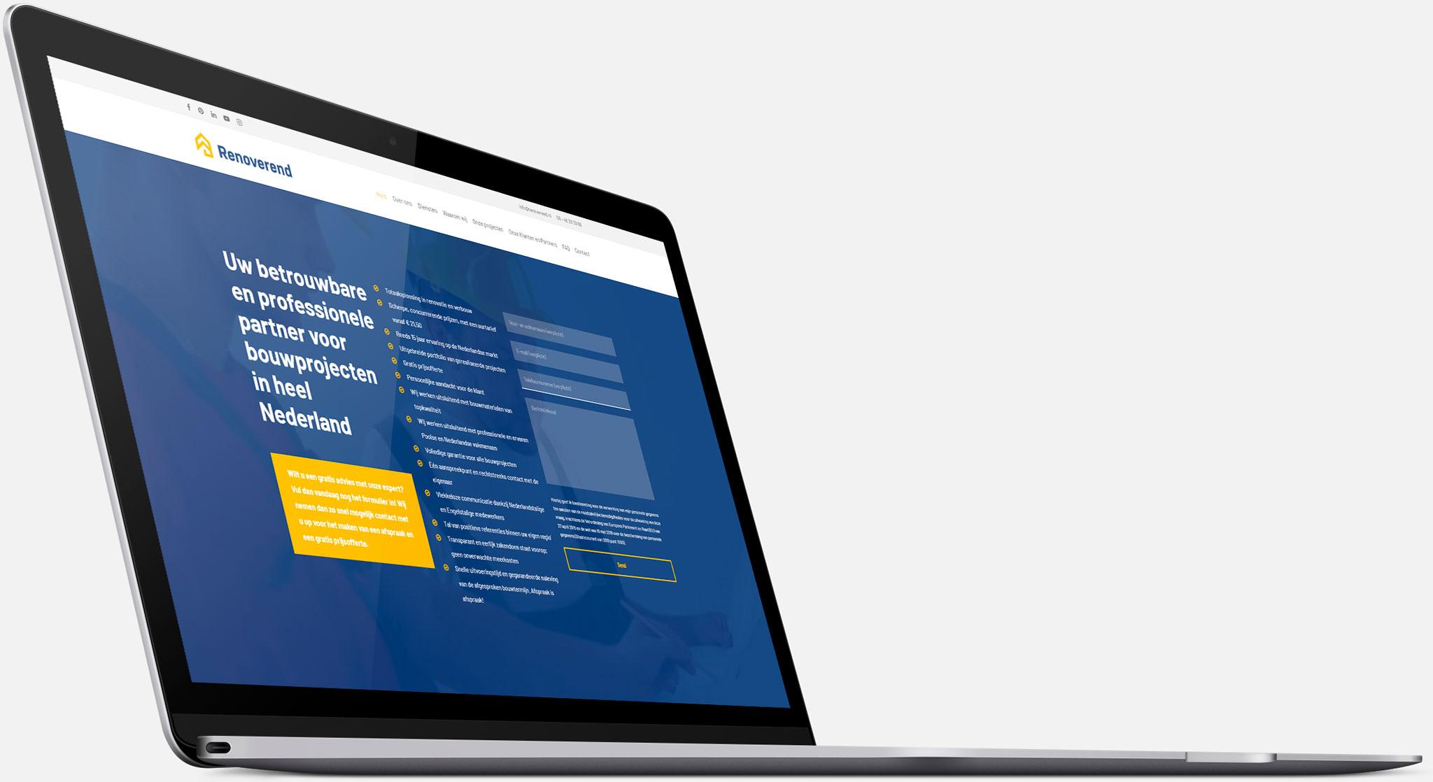 Strona internetowa Renoverend wwersji naurządzenia desktopowe