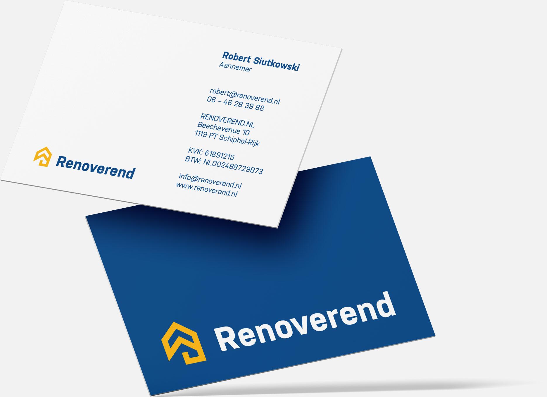Projekt iprodukcja wizytówek dla marki Renoverend