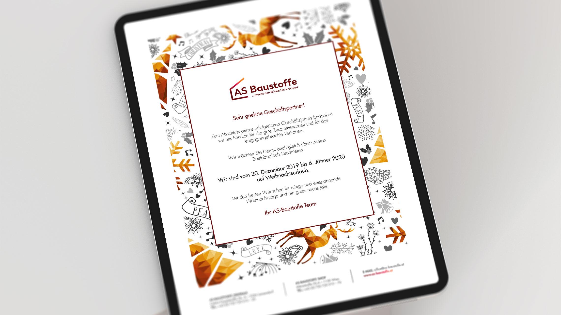 Przykładowa informacyjna kampania e-mail marketingowa dla dla austriackiej marki materiałów budowlanych AS-Baustoffe