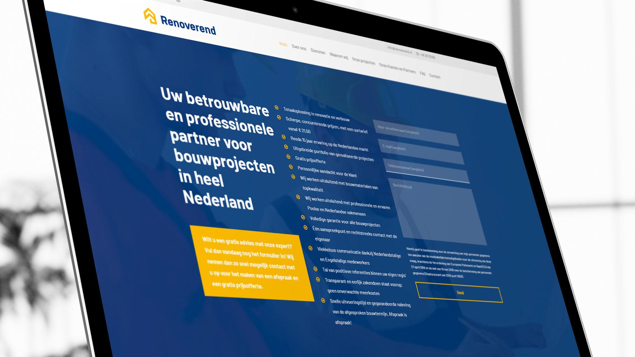 Landing Page zformularzem pozyskiwania leadów sprzedażowych dla holenderskiej marki budowlanej Renoverend